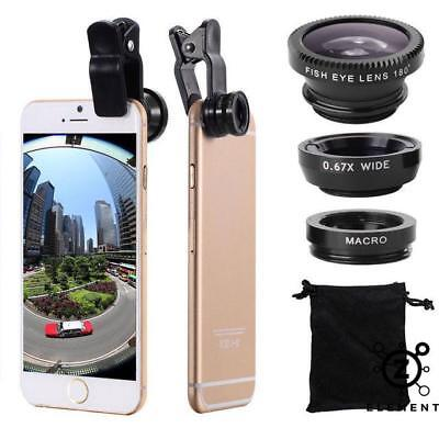 3 In 1 Fish Eye+Macro+Wide Angle Clip On Lens Camera Set For Mobile Phone iPhone