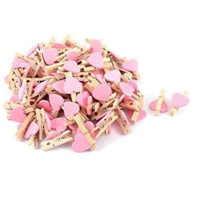 100 3CM Natural Wooden Pegs with Pink Heart for Art Craft & Decoration
