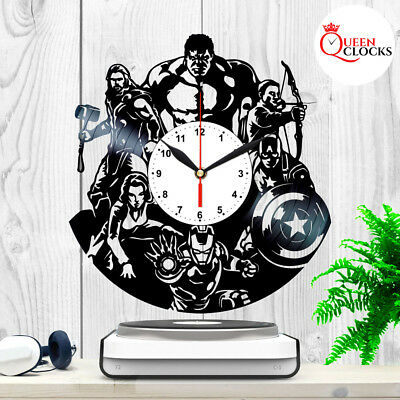 Marvel Avengers Ironman Tor Hulk Vinyl Record Wall Clock Birthday Gift Decor