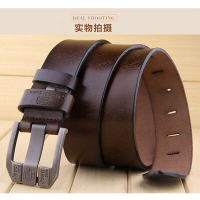 Genuine Cow Real Leather Mens Belt Waistband Waist Strap Girdle Smooth Buckle
