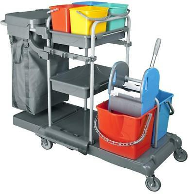 Nova Deluxia Professional Cleaning Cart PE Hygiene Mop Service New.