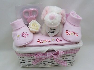 Pink New Baby Girl Basket Gift Hamper Nappy Cake  Baby Shower Maternity 0-3M
