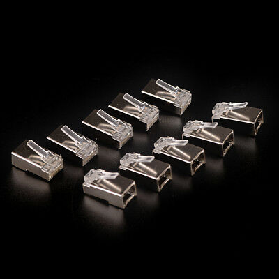 10 x High-quality Silver Plated Cat6 Crystals RJ45 Network Cable Connector EB