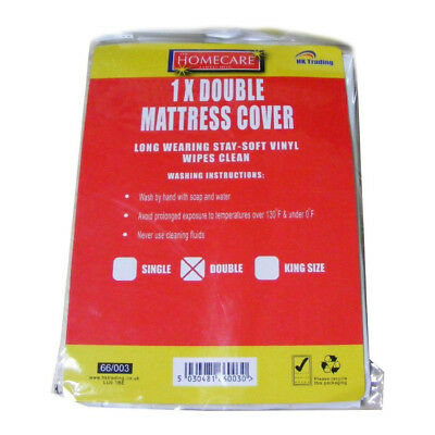 Double Vinyl Plastic Fitted Mattress Bed Cover Sheet Protector Waterproof White