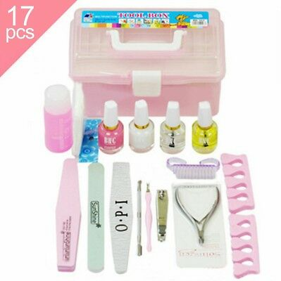 17 pcs Nail Art Cuticle Pusher Clipper Nipper Polish Box Manicure Tool Set Kit