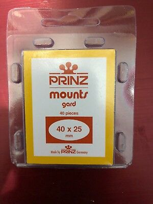 Prinz 40/25 Stamp Mounts Pack Of 40   ***We Help And Support Our Veterans***