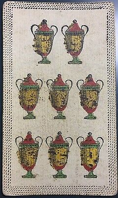 Eight of Cups c1820 Antique Tarot Playing Cards Italy Historic Chalice Single