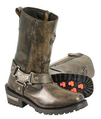 Milwaukee Leather Women's Distressed Classic Harness Boot - Square Toe - MBL9361