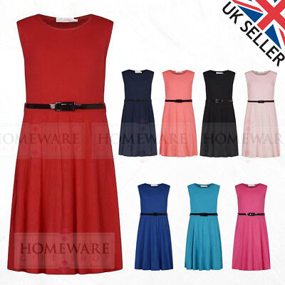 Girls Kids Skater Dress Designer Sleevless A Line Dress Belt Soft 7-13 Yrs