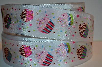 "1 Yd 1.5"" Satin Ribbon The Cupcake Printed On Rainbow Sprinkles."