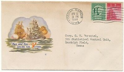WWII Patriotic Cover Then And Now Sailing For Victory 1942 G W Borschel Letter