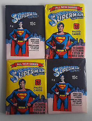 4 x Vintage Sealed Packets Of Superman Movie Topps & O PEE CHEE Trading Cards.