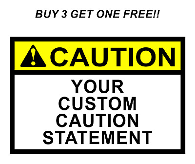 Peel And Stick Caution Custom Text Safety Label Vinyl Decal Sticker