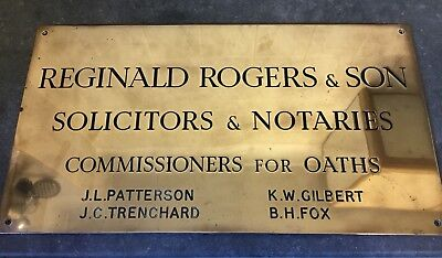 "Old Heaby Vintage Brass Solicitors Name Plaque 18"" Thick Guage"