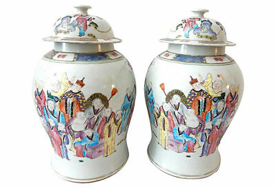 "Chinese H.Painted Famille Rose Ginger Jars , Pair 16.5"" H"