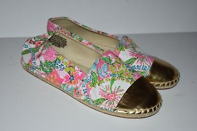 8e3ed90d8b9 LILLY PULITZER For Target Espadrilles Shoes Nosie Posey Gold Toe Size 5