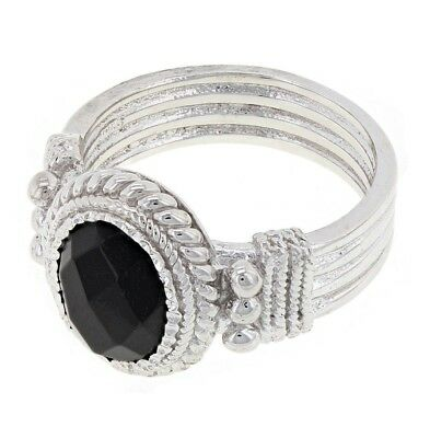 925 Sterling Silver Natural Oval Black Onyx Solitaire Cocktail Ring Sizes 6-8