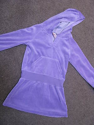 Bnwt Girls Purple Velour Ruffled Hoodie Dress Size 1 Or 2  Warm Comfy Cute