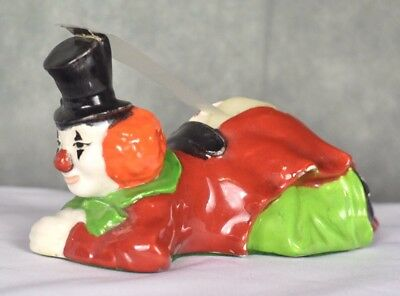 Vintage 1980 Dotie Colorful Circus Clown On Belly Ceramic Scotch Tape Dispense