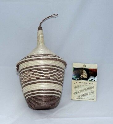 """African Hand Woven Cathedral Basket, Fair Trade Item, Cream / Beige Color 9"""""""