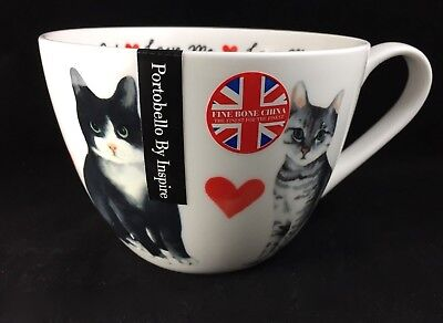 PORTOBELLO By DESIGN MEOW! LOVE ME. LOVE MY CAT Bone China Jumbo Cup