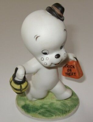 "1986 Casper Ghost Porcelain Figurine Halloween Trick or Treat 4.5"" Tall"
