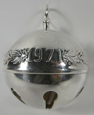 1971 /1995 WALLACE Silver Plated Sleigh Bell Ornament 25th Anniversary NO BOX