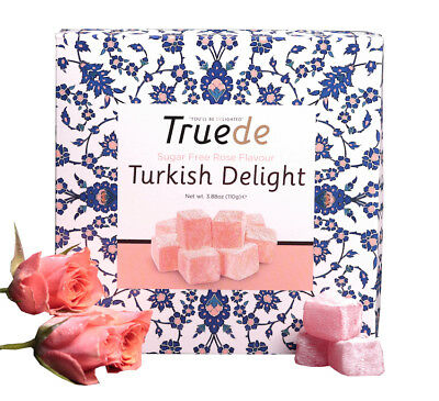 Truede Sugar Free Rose Flavour Turkish Delight 110g (For Diabetics) - Gluten Fr