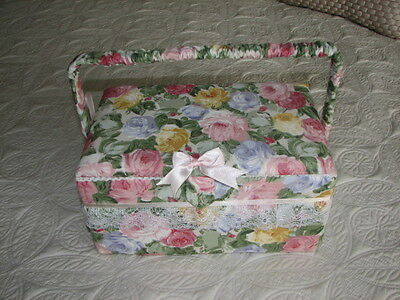 Vintage cloth covered cushion top sewing box storage chest with  handle 11x7x6