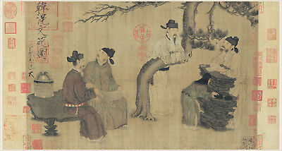 Chinese old scroll painting on silk Noble scholars are at rest in Tang dyansty
