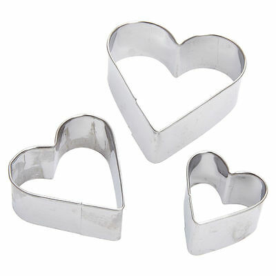New Set of 3 Love Hearts Biscuit Cookie Mold Heart Shaped Cutter Moulds Metal