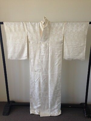 Japanese Vintage Woven Floral Silk White/Cream Costume Robe Hand Made Old Kyoto