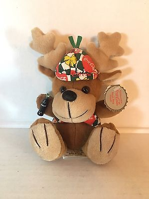 1998 Coca Cola Christmas Reindeer Plush Beanie Holding Coca Cola Bottle #0168