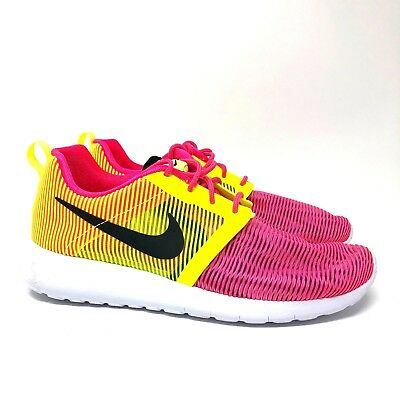 bedb011e2900 NIKE Roshe One Flight Weight 705486 603 Pink yellow shoes girls youth size  7Y