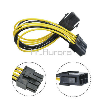 """PCI Express PCIe 6 Pin to 8 Pin Graphics Card Power Adapter Cable 7.8/"""" Chic 18CM"""