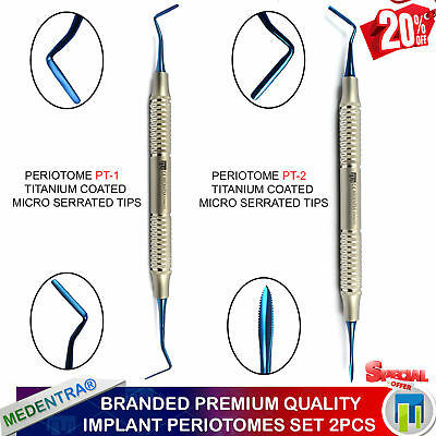 MEDENTRA® 2Pcs Implant Periodontal Ligament Dental Anterior Periotome PT1 PT2 CE
