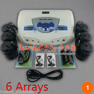New Dual User LCD MP3 Ionic Detox Cell Foot Bath Spa Cleanse Machine + 6 Arrays