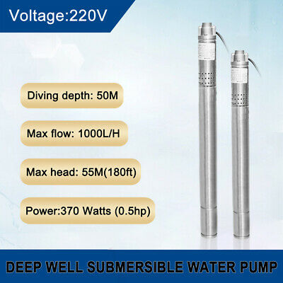 "2"" (50mm) Submersible Water Borehole Pump AC  Deep Well 0.5 HP 240V Stainless/S"