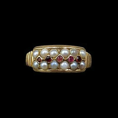 Antique Victorian Garnet and Pearl Double Row 15ct Yellow Gold Ring Band C.1887