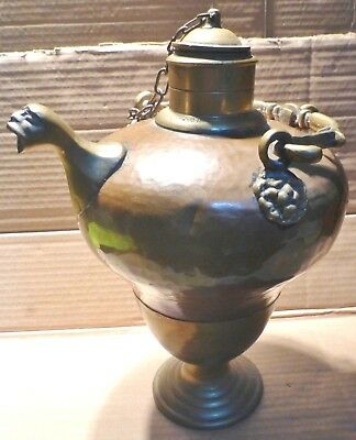 """Superb Antique Artistic Copper & Brass French Water Jug Pitcher 13"""" (Bc6)"""