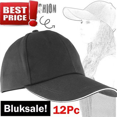 LOT of 12pc Baseball Cap Plain Blank Solid Adjustable Hats Bulksale! US Stock MX