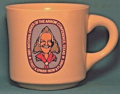 BOY SCOUTS National Order of the Arrow Conference TEXAS 1981 COFFEE CUP / MUG