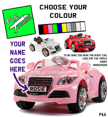 PERSONALISED kids number plate: Coupe style ride on car toy 6v 12v custom