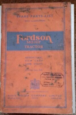 Ford Motor Co Spare Parts List with illustrations Fordson Major Tractor 1945.