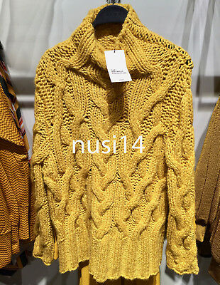 de8fc0bc59 Zara Woman Oversized Cable-Knit Sweater Mustard One Size  M Ref. 3859