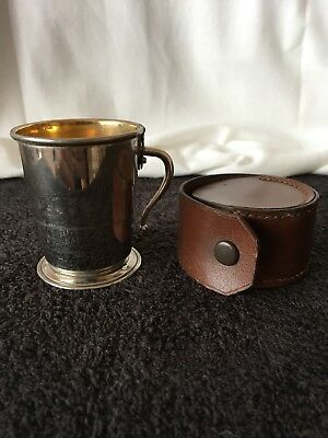 EARLY 20th CENTURY LEATHER CASED COLLAPSING CAMPAIGN CUP