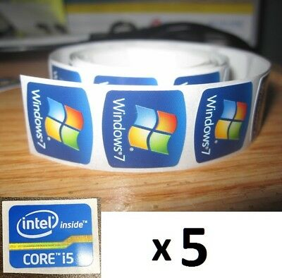 5 x FREE WINDOWS computer 7 sticker + i5 i3 i7 Intel inside Core PC 10 Genuine 8