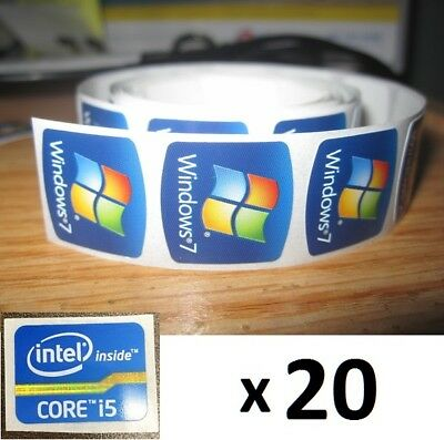 20 x FREE WINDOWS computer 7 sticker i5 i3 i7 Intel inside Core PC 10 Genuine 8