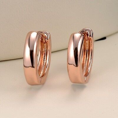 Women's Hoops Earrings Smooth 18k Rose Gold Filled 15mm Luxury Fashion Jewelry