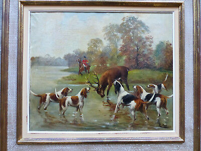 LARGE & SUPERB EARLY 20th CENTURY FOX HUNTING SCENE OIL PAINTING SIGNED ROLIER 2